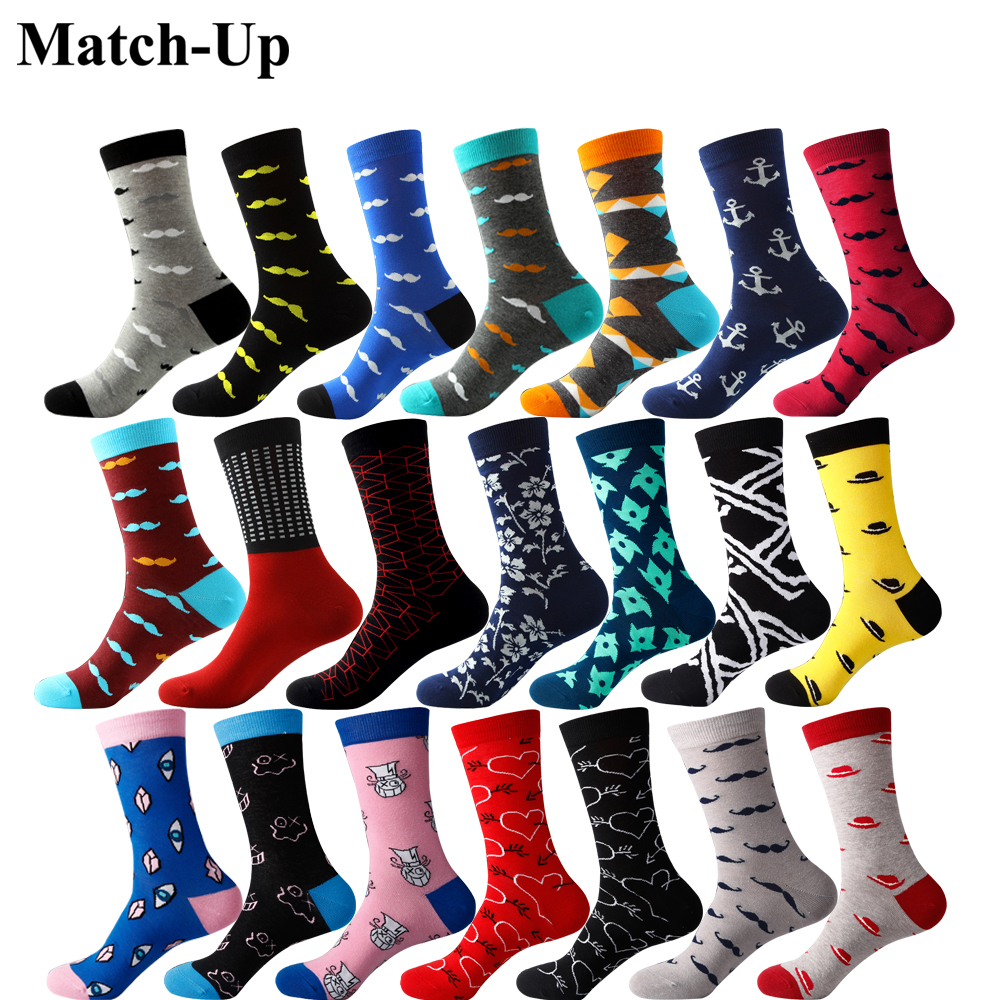 Match-Up Men's Combed Cotton Socks Brand Man Dress Knit Socks  Mustache Socks US Size(7.5-12)