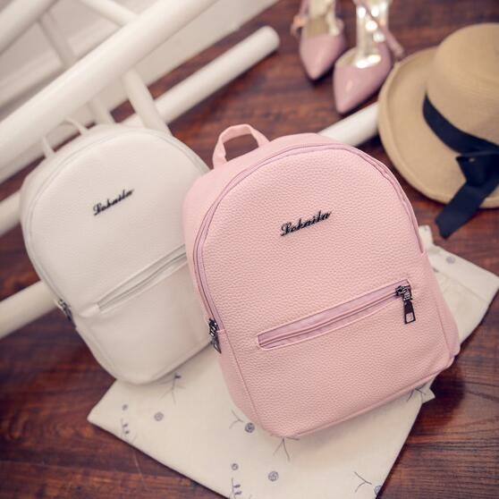 Women Small backpack Sweet College Wind Mini Shoulder Bag High quality PU leather Fashion girl candy color female bag