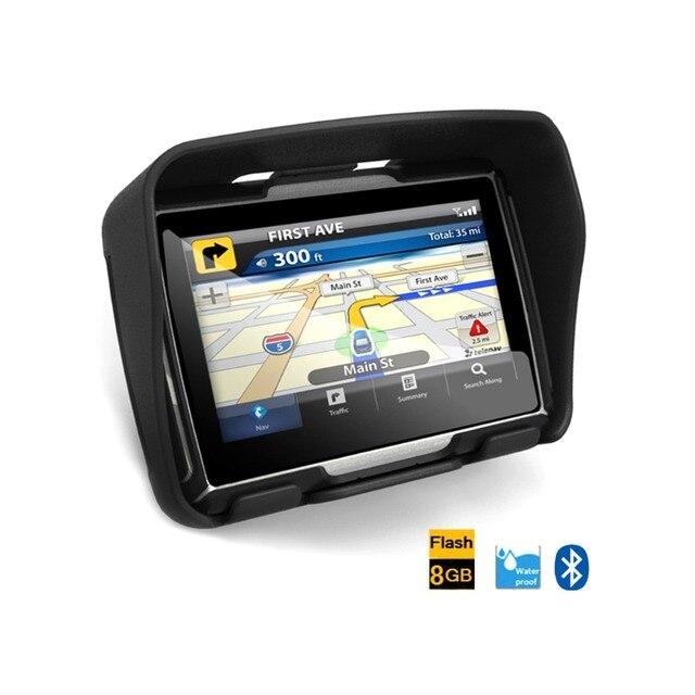 Бесплатная Доставка 4.3 дюймов Обновление 256 RCar Мотоцикл GPS Навигатор Водонепроницаемый IPX7, 4 ГБ Внутренней, Bluetooth, Бесплатные Карты-Серый