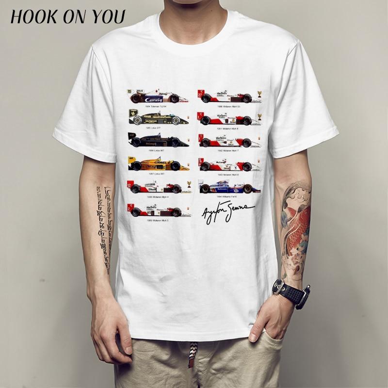 All F1 Ayrton Senna sennacars T-shirt Top Lycra Cotton Men T shirt New Design High Quality Digital Inkjet Printing