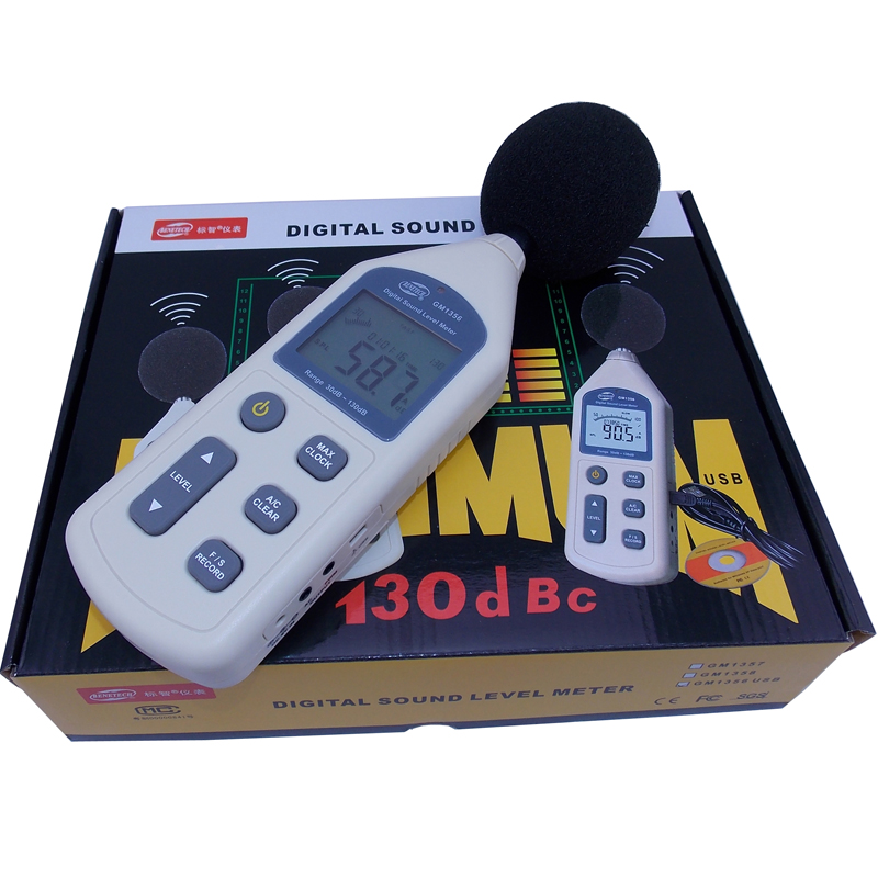 ФОТО BENETECH Digital Sound Level Meter USB Noise Tester meter GM1356 30-130dB A/C FAST/SLOW dB+ Software with carry box