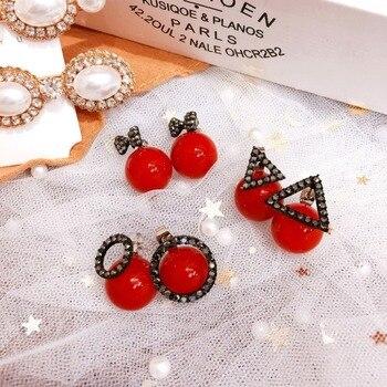 c1f6da85c076 Dulce rojo pendientes para las mujeres pendientes de años nuevos aretes de  joyería de moda flecos pendientes Fanssee