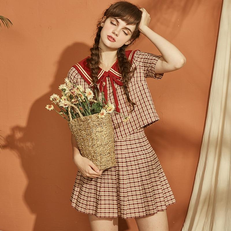 2018 rétro poupée col Lolita jupe petit frais plaid jupe deux pièces costume
