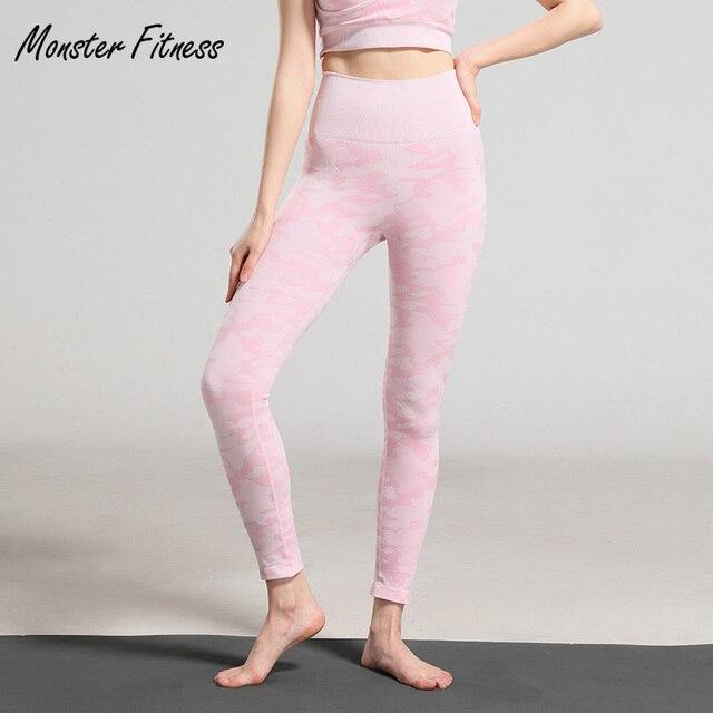 4abbc02114e38 Monster 2019 Women Yoga Pants Camo Seamless Leggings High Waist Gym Running  Workout Fitness Sport Yoga Leggings For Women