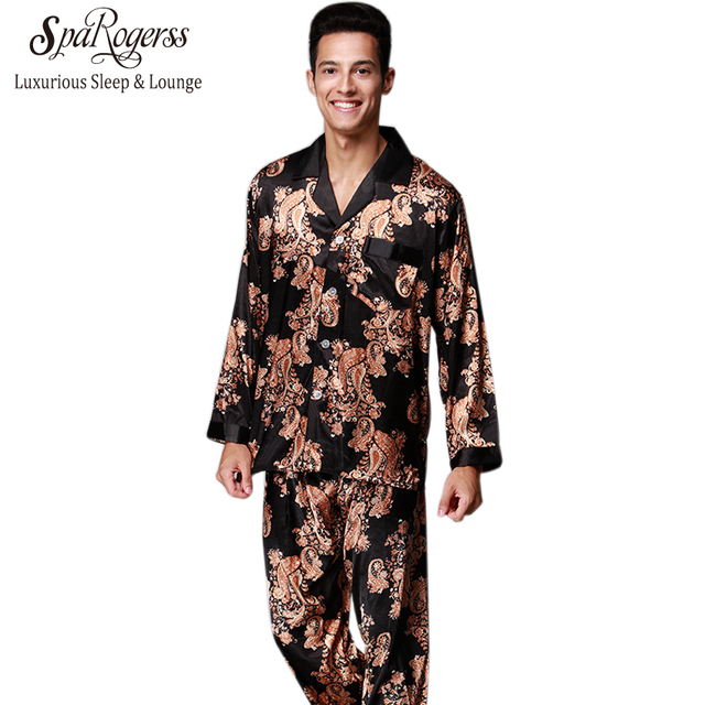 Luxurious Mens Pajama Set 2018 New Couple Pajamas Suits Brand Design Men s  Long Sleeved Pajama Pants Faux Silk 2 Pcs Sets TZ185 80489f225