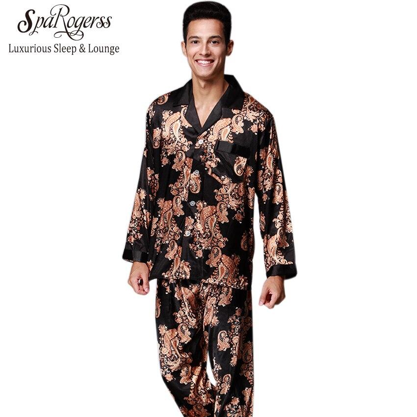 Luxurious Mens   Pajama     Set   2018 New Couple   Pajamas   Suits Brand Design Men's Long Sleeved   Pajama   Pants Faux Silk 2 Pcs   Sets   TZ185