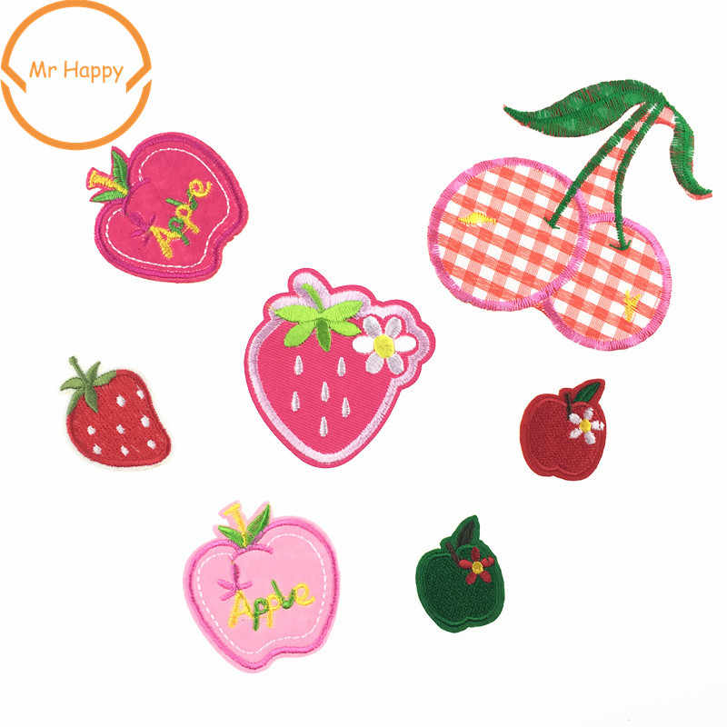 1pcs Iron On fruit strawberry cherry apple Patches Embroidery Stickers for Bags Clothes Decoration Appliques