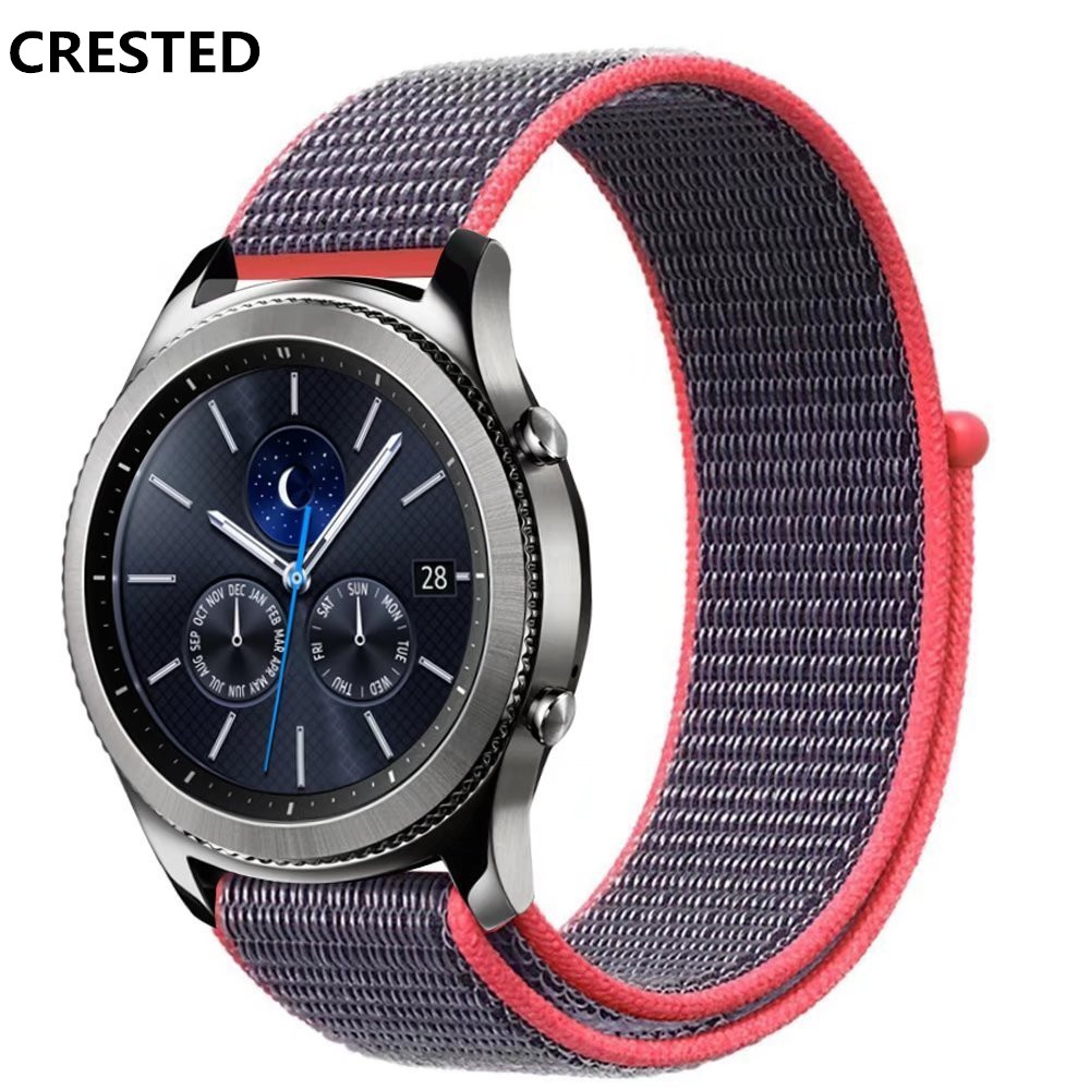 CRESTED watch band For samsung gear s3 classic/frontier strap Sport loop woven nylon wrist bands Bracelet belt Huami Amazfit ashei 22mm newest nylon loop watchbands for xiaomi huami amazfit strap watch band woven nylon fabric bracelet for huami amazfitt