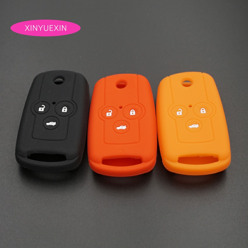 Xinyuexin Silicone Car Key Cover Case For Honda Accord CRV CIVI Crosstour Flip Remote 3 Buttons Key Jacket Car-stying