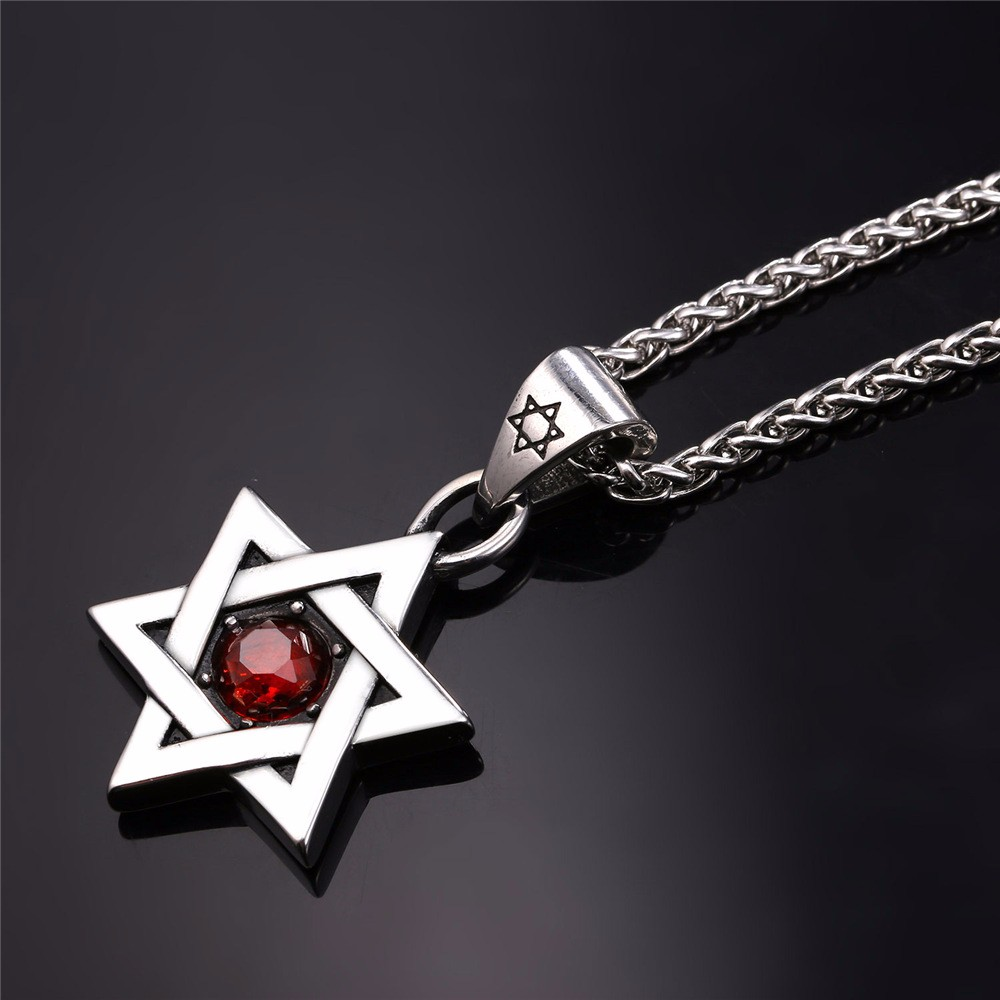HTB1CbSqJVXXXXbfXVXXq6xXFXXXr - Star of David Pendant with Red Stone
