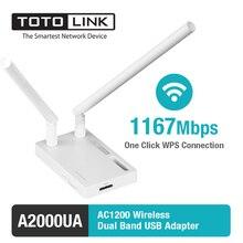 Totolink a2000ua 802.11ac 1200 mbps kablosuz dual band usb adaptörü ile 2 * 5dbi harici antennal ve usb 3.0