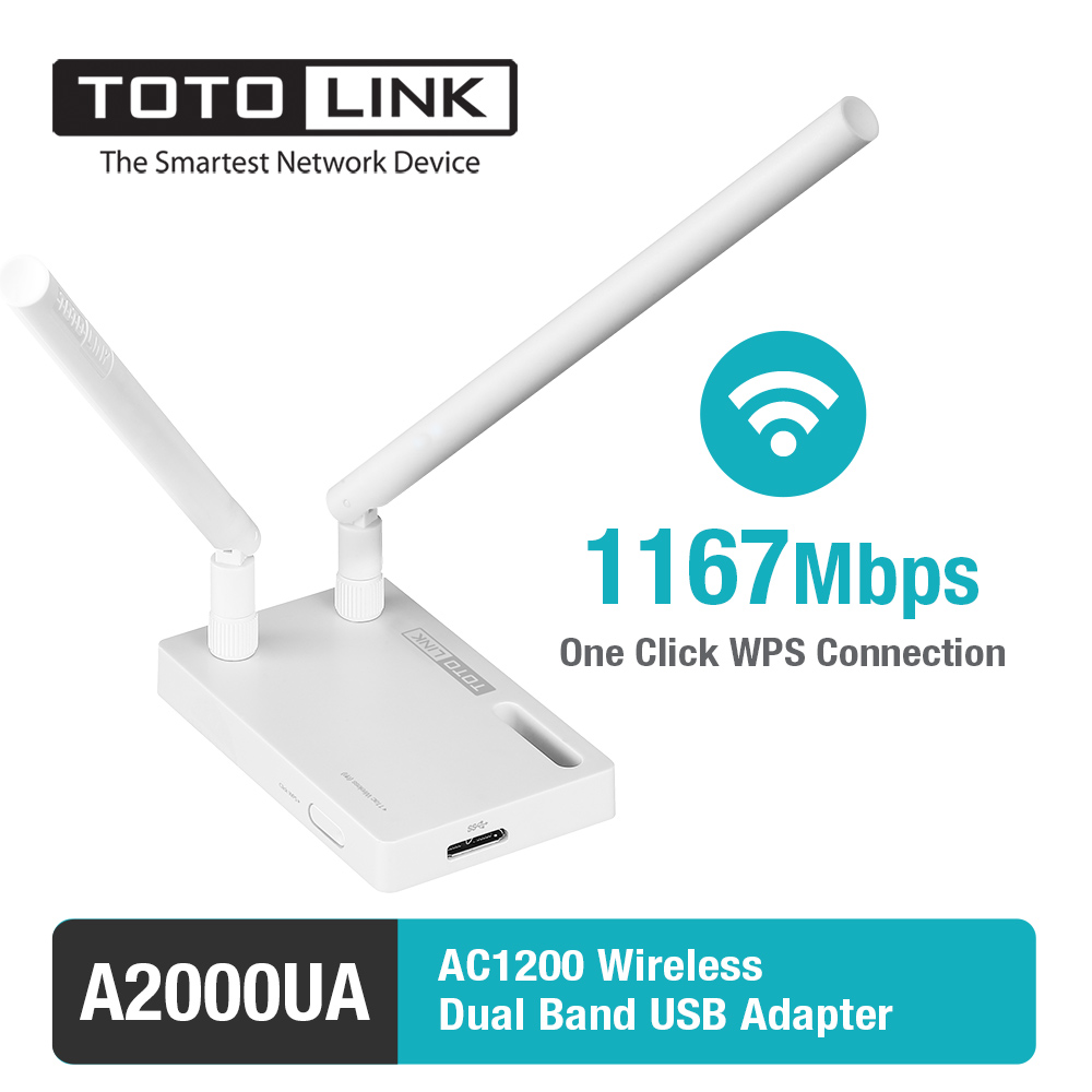 TOTOLINK A2000UA 802.11ac 1200Mbps Wireless Dual band USB Adapter with 2*5dBi External Antennal and USB 3.0