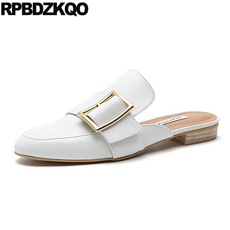 Round Toe 5 Vintage Size 33 Slippers Ladies 2018 White Flats Size 9 Shoes Slides Slip On Women Sandals Mules Nude Summer Belts hot sale 2016 new fashion spring women flats black shoes ladies pointed toe slip on flat women s shoes size 33 43