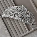 Free Shipping Luxury Vintage Korean Rhinestone Silver Big Flower Sparkling Tiara Crown For Bride And Wedding gift
