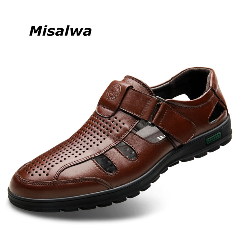 Misalwa Good Quality Genuine Leather Men Shoes Hollow-out Breathable Men Summer Leather Casual Shoes Free Drop ShippingMisalwa Good Quality Genuine Leather Men Shoes Hollow-out Breathable Men Summer Leather Casual Shoes Free Drop Shipping