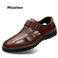 Misalwa Good Quality Genuine Leather Men Shoes Hollow out Breathable Men Summer Leather Casual Shoes Free Drop Shipping
