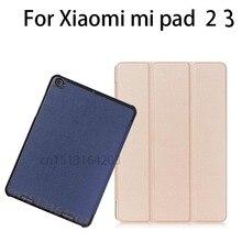 """De alta calidad ultra-delgada de Tres plegable Del Caso Del Soporte para Xiaomi mi PAD MiPad 2 3 7.9 """"Cubierta Elegante de la tableta Con la Estela Del Sueño-Up + pluma"""