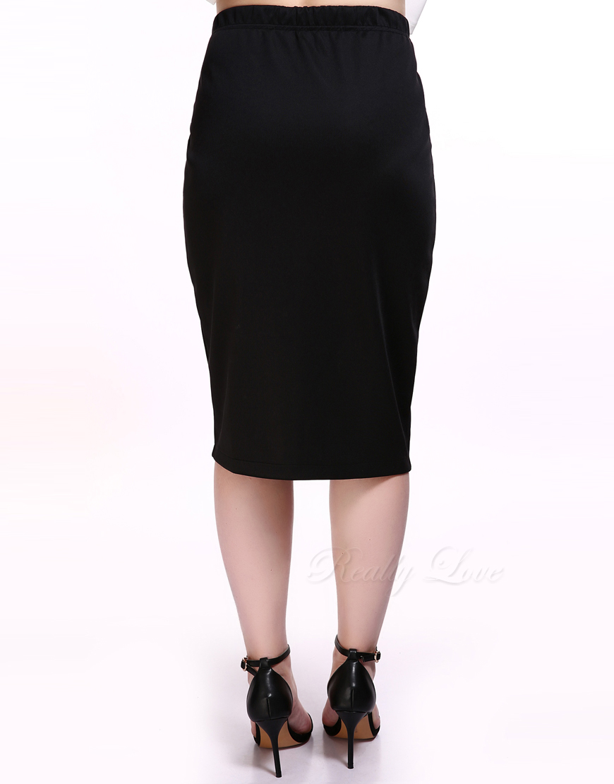 12b974fa8b7da Cute Ann Women s Plus Size Pencil Skirt Black Stretchy Waist Knee Length  Cocktail Party Casual Summer Spring Midi Skirt-in Skirts from Women s  Clothing on ...