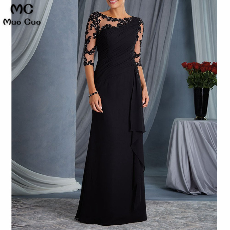 Illusion 2019 Black Mother Of The Bride Dresses With 3/4 Sleeves Appliques Chiffon Mother Of The Bride Dresses For Weddings