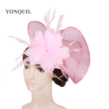 21 Colors charming silk flower wedding party fascinators feather hair accessories sinamay material cocktail bridal hat