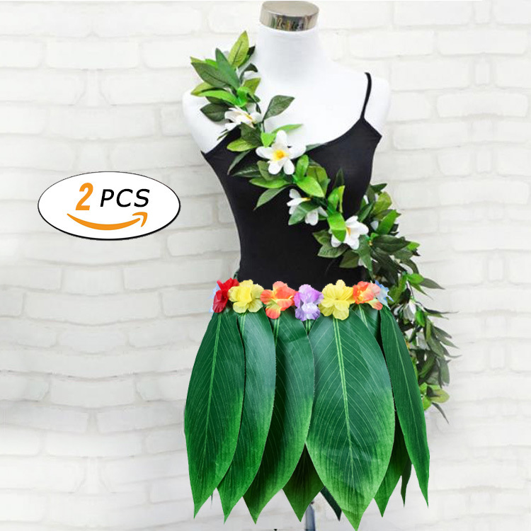 Us 10 71 6 Off Hawaiian Beach Theme Decoration Party Bachelorette Party Supplies Simulation Leaf Wreath Leaf Skirt Stage Show Grass Skirt In Party