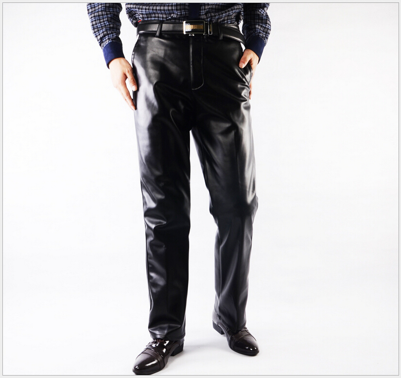 Hot Men Pants Business Leisure Men Leather Pants Thick Leather Trousers Warm Waterproof Fashion High Quality
