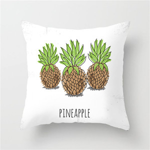 Image 5 - Fuwatacchi Simple Painting Flower Feather Cushion Cover Flamingo Pineapple Leaves Solid Pillow Case Home Decoration Accessories
