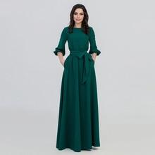 купить Fall Woman O-neck Long Dress New Bohemian Style Slim Vestidos Vintage Three Quarter Lantern Sleeve Casual Dress vestidos по цене 2279.59 рублей