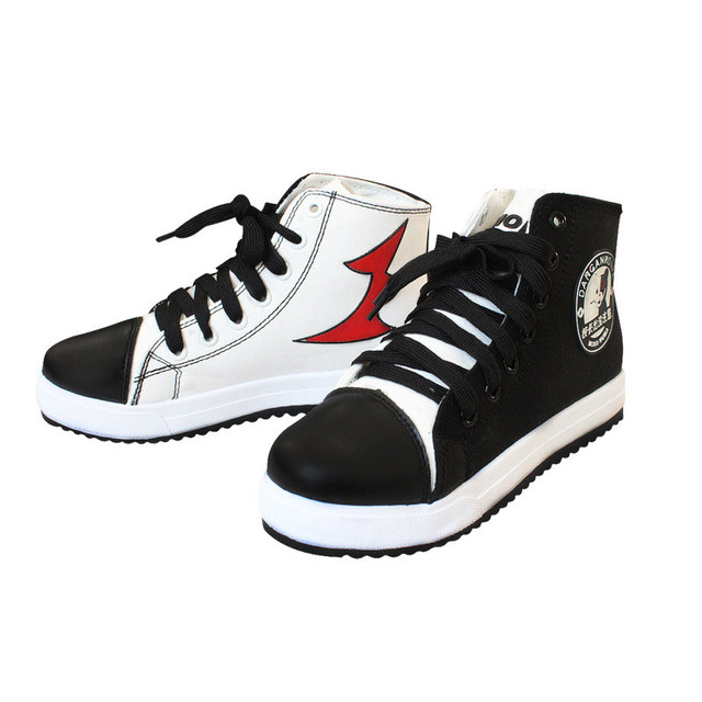 Free Shipping Japanese Anime Danganronpa Monokuma Cosplay Shoes Ankle Canvas Boots White Black Bear Costume Shoes 112609