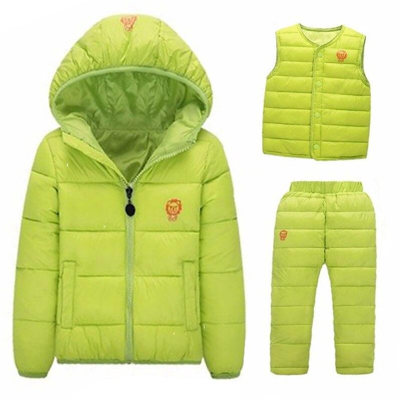 2017 Winter Baby Girls Cotton Down Hooded Kids Coat+Vest+Pants Infant Parkas Wear Outerwear Coat Minnie casaco roupas de bebe