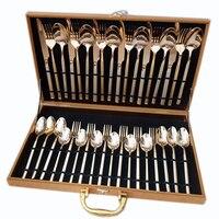 Золотой чехол Полный набор посуды набор супер роскошный западный стиль столовый сервиз инструмент посуда половник для супа нож 36 шт/6 челов