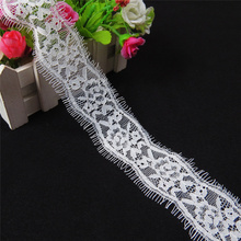 3Meters/Lot Knitted Flower Lace Ribbon Trims Width/5CM White Eyelash African Lace Fabric Garments Wedding Dress Embroidery Lace flower embroidery eyelash lace crop top