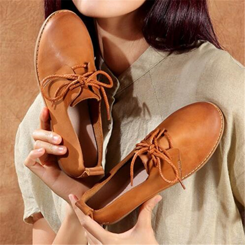 Whensinger - 2017 Women Flats Genuine Leather Fashion Shoes Lace Female Driving Casual Footwear Loafers  Soft Leisure Size 34-40 zapatillas hombre 2017 fashion comfortable soft loafers genuine leather shoes men flats breathable casual footwear 2533408w