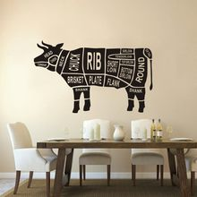 Autocollant mural en vinyle en forme de vache, décoration de cuisine, Restaurant, boucherie, animaux, découpes de corps de vache, fenêtre Poter AJ578