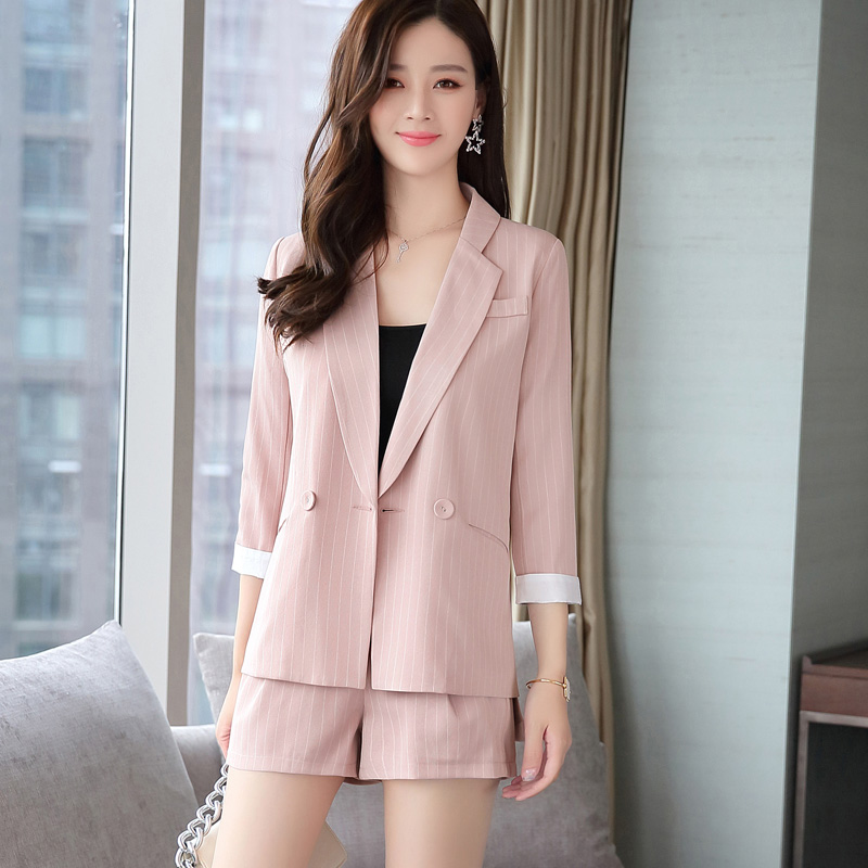 Womens Sets Spring Autumn New Fashion Blazers Suit Two Piece Suits Casual Striped Jacket Coat & Shorts Set Office Lady Clothing