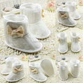 NewToddler Girls Knit Woolen Snow Boots Bowknot Infant Soft Sole Baby Fleece Shoes