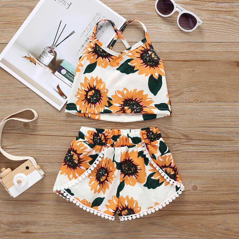 Pudcoco Summer Toddler Baby Girl Clothes Sunflower Print Sleeveless Vest Tops Tassel Short Pants 2Pcs Outfits Clothes Summer