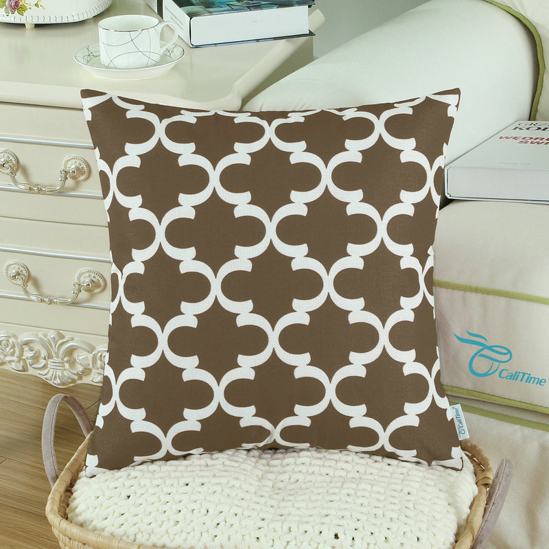 2PCS Square CaliTime Coffee Cushion Cover Pillows Shell Quatrefoil Accent Geometric Home Sofa Decor 18 X 18(45cm X 45cm)