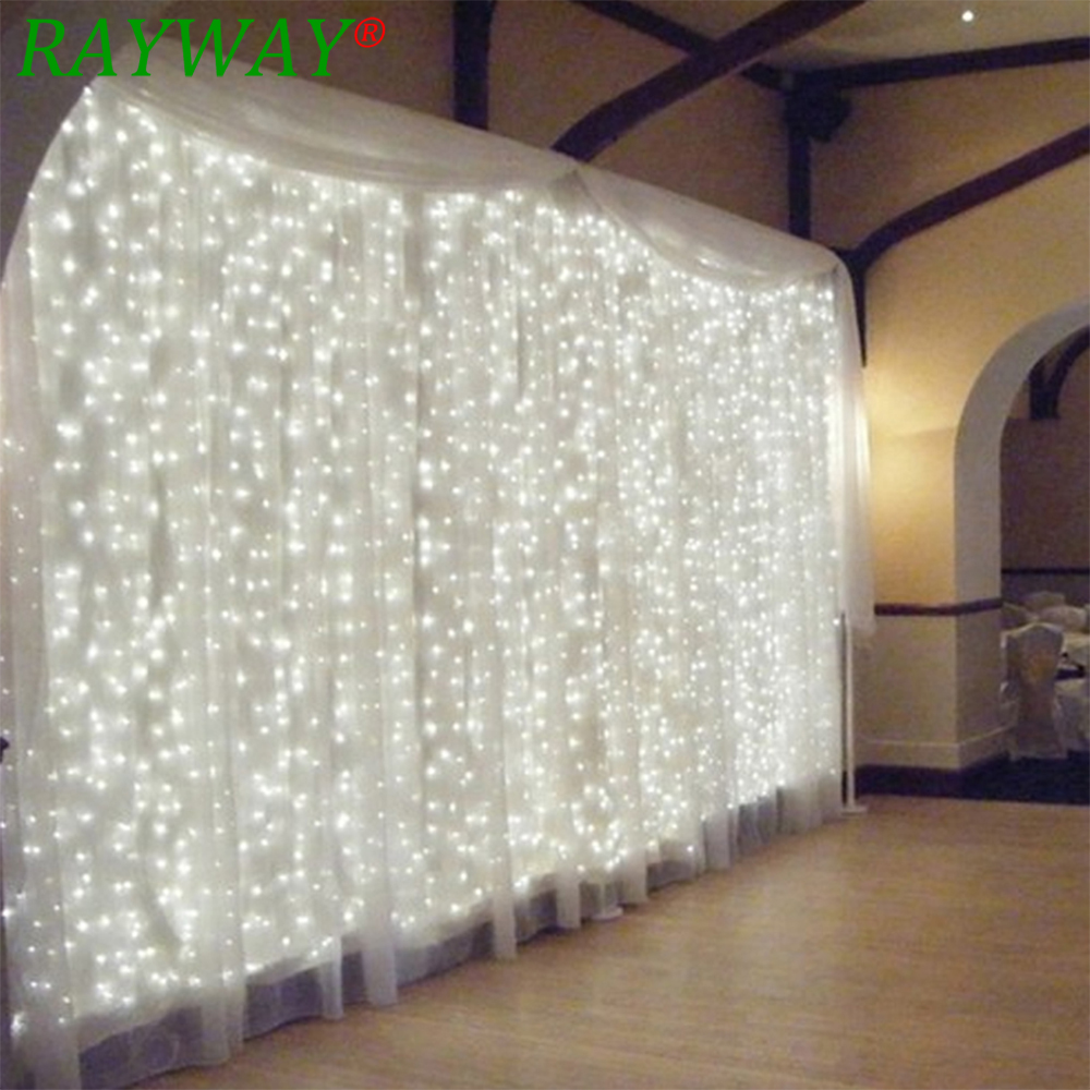 RAYWAY 600leds fairy string icicle led curtain light 220v 110V 6M*3M bulbs Outdoor Home Xmas Christmas Wedding garden party 6m x 3m led curtain waterfall fairy lights christmas party wedding holiday decoration lighting icicle waterfall light 110v 220v