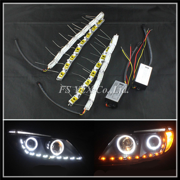 50CM White Yellow Crystal LED DRL strips Flexible Car LED DRL stripes LED Daytime Running Light with Turn Signal Lights strips
