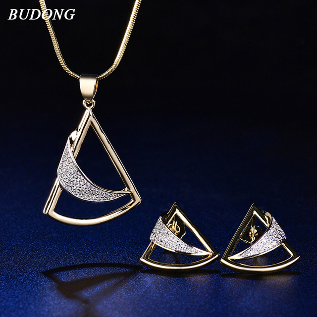 BUDONG Vintage Wedding Jewelry Sets Geometric Triangle Moon Design