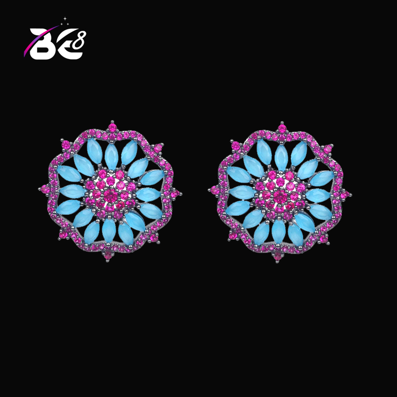 Be8 Classic Red Flower Shape Stud Earrings For Women Brincos Black Gun Plated Luxury Jewelry boucle d oreille E 352