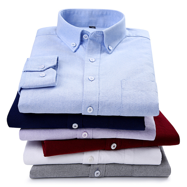 High quality 2018 New 100% cotton down button collar long sleeve slim fit Men casual Plaid /striped /solid shirts Dress Shirts