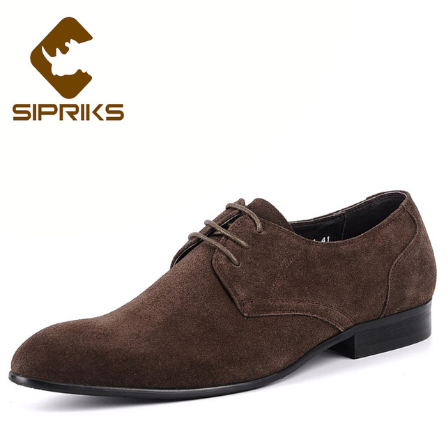 Sipriks Mens Navy Blue Tuxedo Shoes Dark Brown Cow Suede Dress Shoes Tan Leather  Derby Shoes Pointed Toe Social Shoes Flats 44 5864cc64f52a