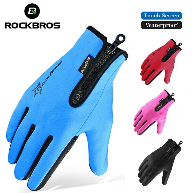 ROCKBROS Winter Skiing Fleece Thermal Ski Gloves Snowboard Warm Sport Motorcycle Hiking Full Finger Men Women Glove Touch Screen fl ski gloves snowboard