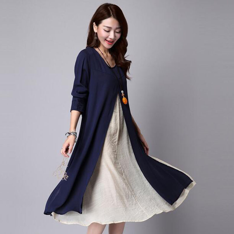 Autumn Long Sleeve Linen Maternity Dress For Pregnant Women Clothes Casual Patchwork Pregnancy Vestidos Gravidas Dress Clothing