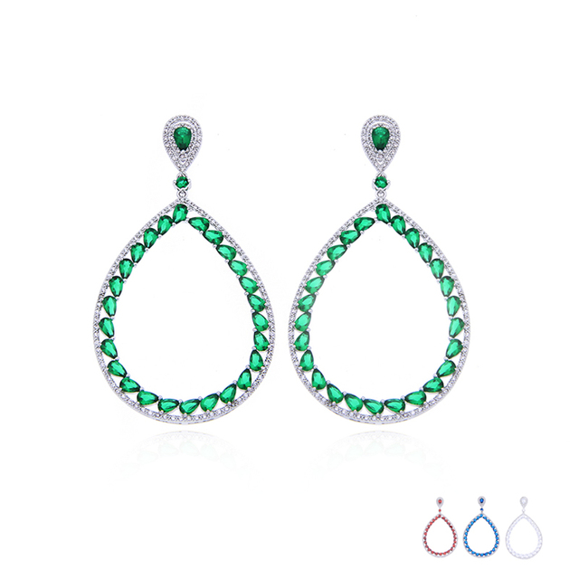 Luxury Emerald Hoop Earrings Ethic Vintage Red Blue White Cubic Zircon Created Diamond Earrings For Women Jewellery brincos E234