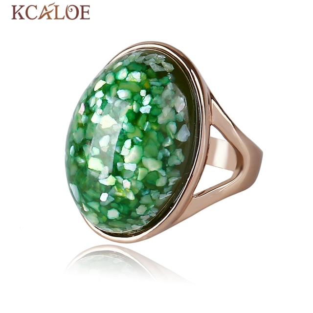 KCALOE PinkGreen Shell Ring Rose Gold Color Woman Jewelry Sea Shell