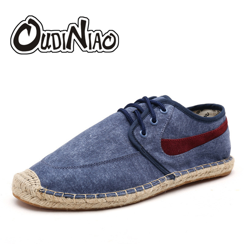 OUDINIAO Mens Shoes Casual Male Breathable Canvas Shoes Men Chinese Fashion 2019 Soft Lace Up Espadrilles For Men Hemp Wrap(China)