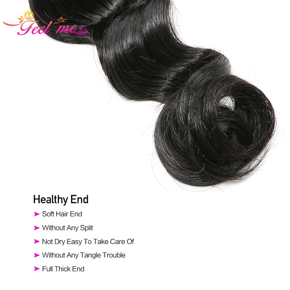 Image 4 - Loose Deep Wave Bundles With Closure FEEL ME Hair Brazilian Human Hair Bundles With Closure 3 Bundles Remy Hair With Closure-in 3/4 Bundles with Closure from Hair Extensions & Wigs